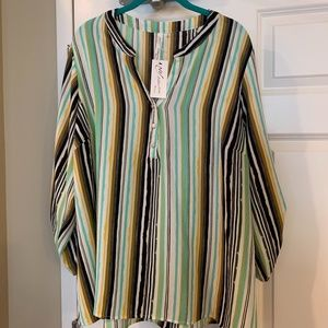 NY Collection Striped Blouse